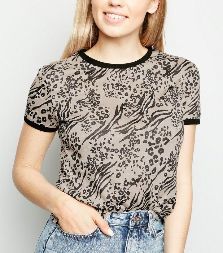 11bc6f509c24 Brown Mixed Animal Print Ringer T-Shirt | New Look
