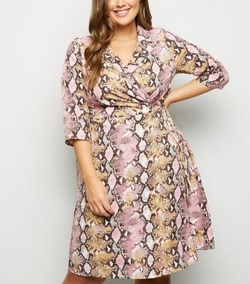 Blue Vanilla Curves Pink Faux Snake Wrap Dress