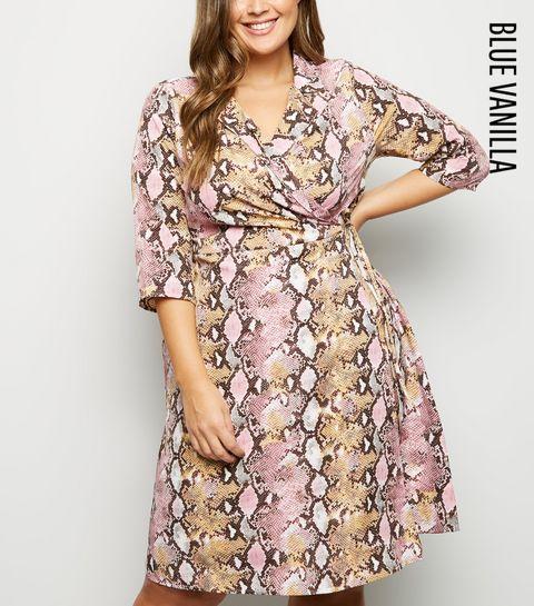30a04aa39f1 ... Blue Vanilla Curves Pink Faux Snake Wrap Dress ...