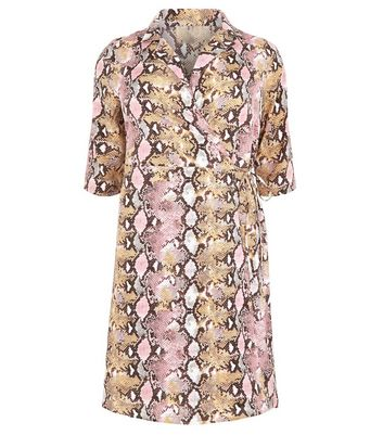 shop for Blue Vanilla Curves Pink Faux Snake Wrap Dress New Look at Shopo