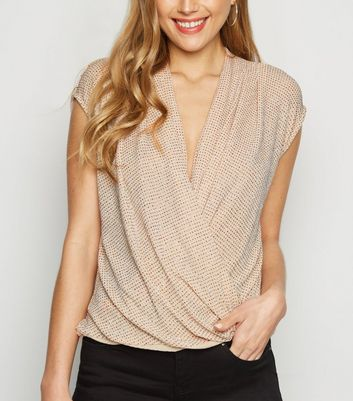 Pale Pink Glitter Wrap Front Top