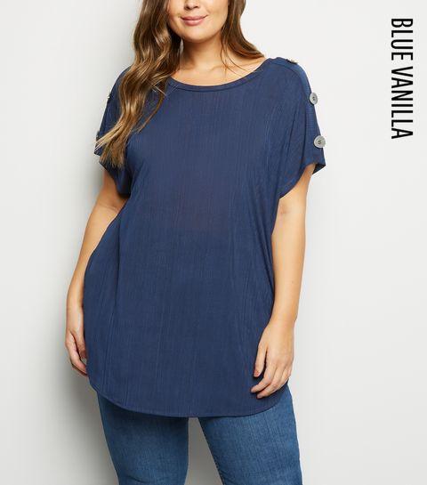 29c9a9168f2f ... Blue Vanilla Curves Navy Button Shoulder Top ...