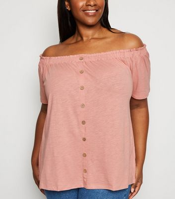 Curves Pink Button Front Bardot Top