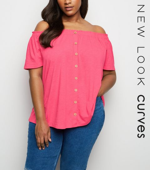 497170a405920 ... Curves Mid Pink Button Front Bardot Top ...