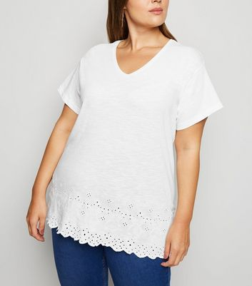 Curves White Broderie T-Shirt