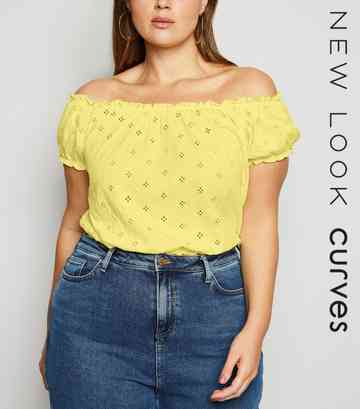 Curves Yellow Broderie Milkmaid Top