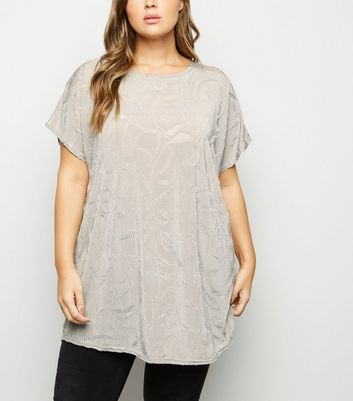 Blue Vanilla Curves Pale Grey Ripple Effect Top