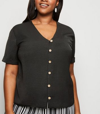 Curves Black Button Front Boxy Shirt