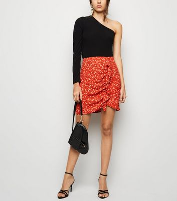 Red Ditsy Floral Ruffle Mini Skirt