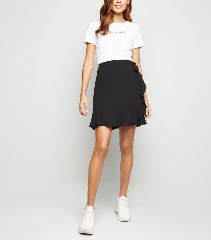 4f5c10c73f99 Black Ruffle Wrap Mini Skirt | New Look