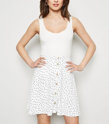 White Spot Button Up Skater Skirt