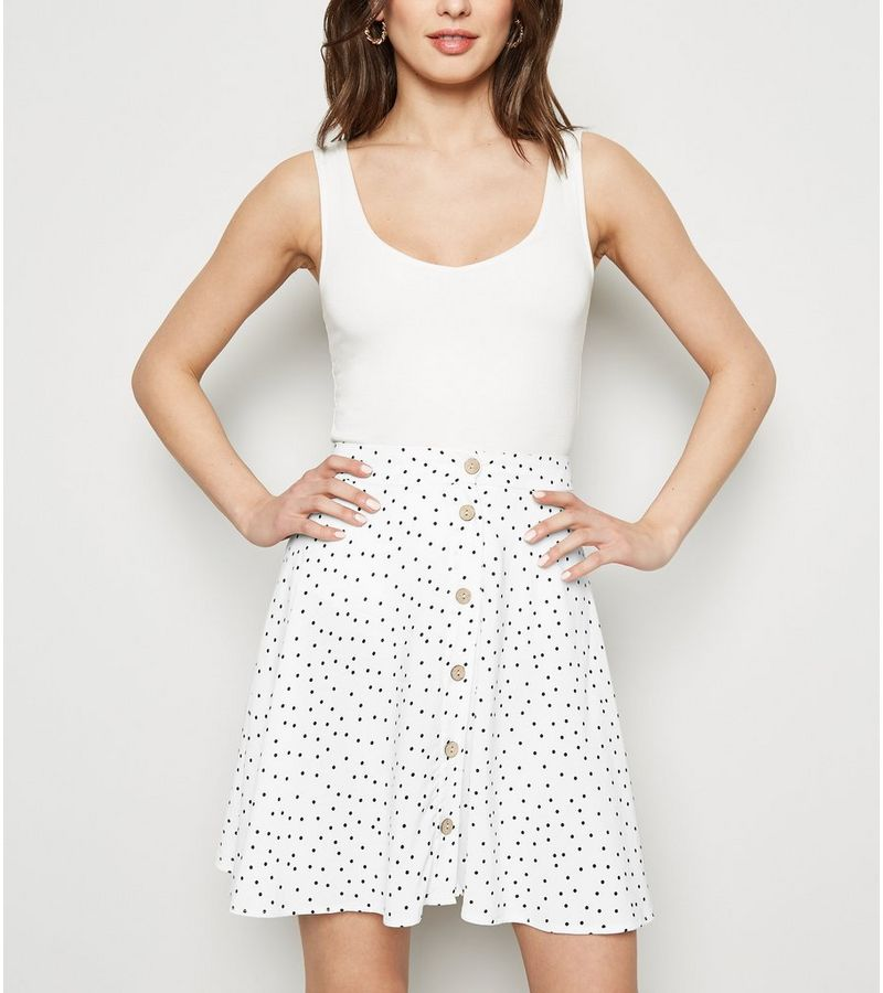 New Look - spot button up mini skirt - 1