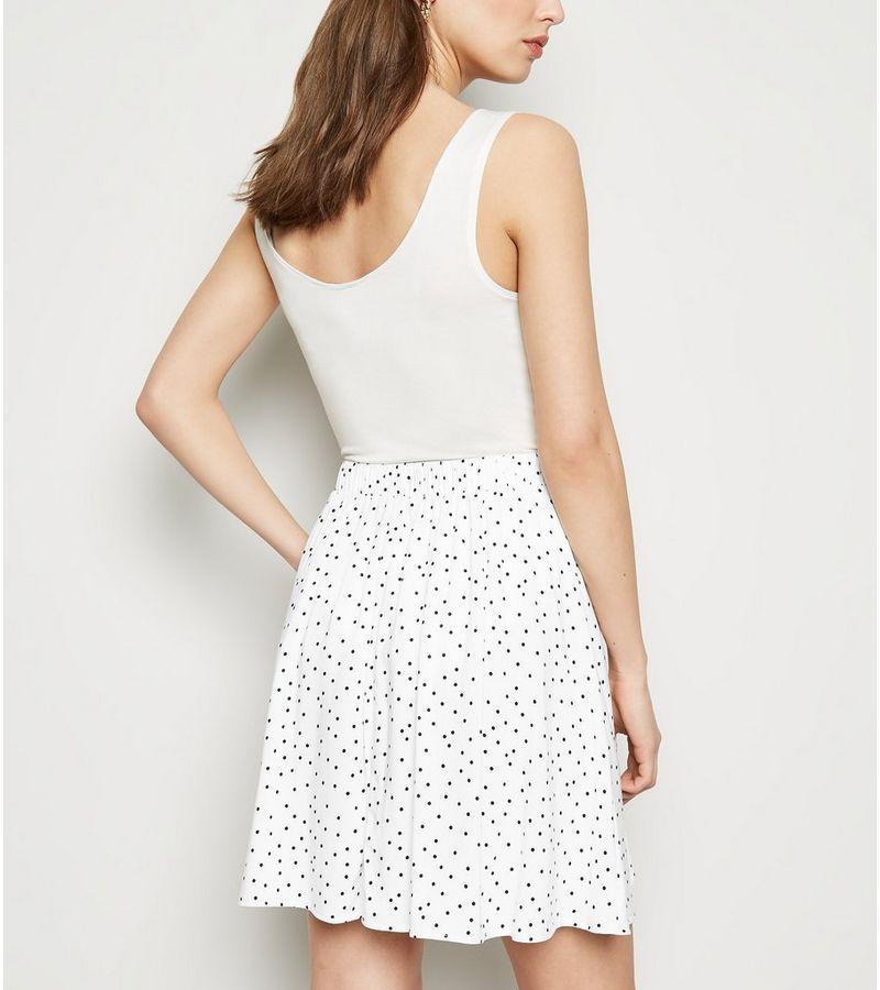 New Look - spot button up mini skirt - 3