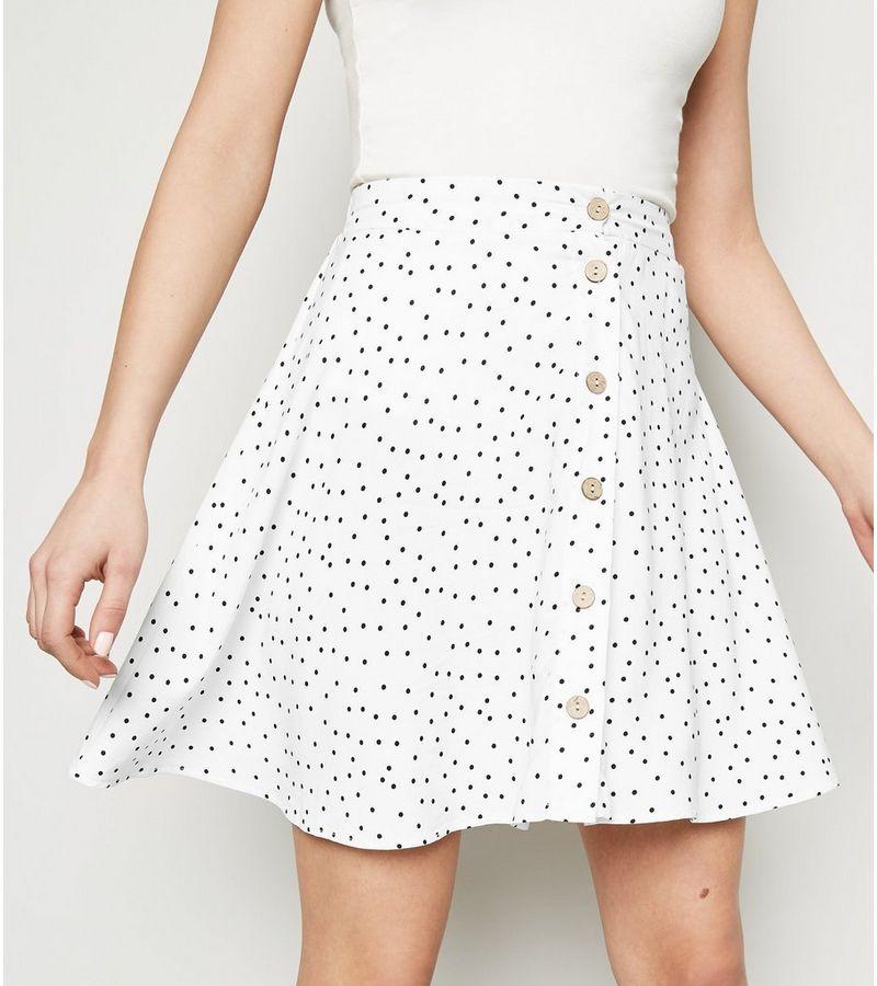New Look - spot button up mini skirt - 5