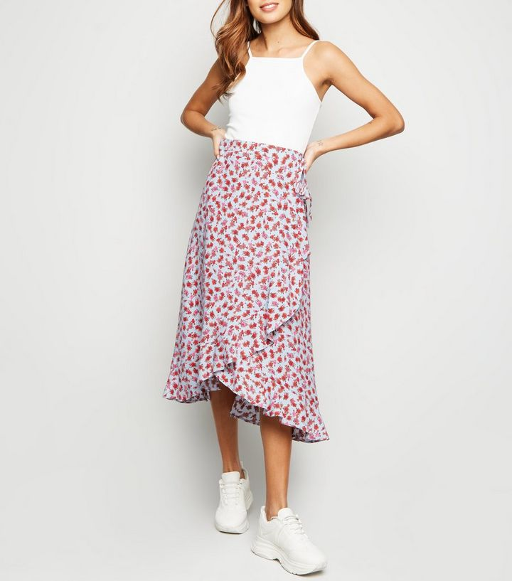 584ca0dc59ff10 Blue Floral Wrap Midi Skirt | New Look
