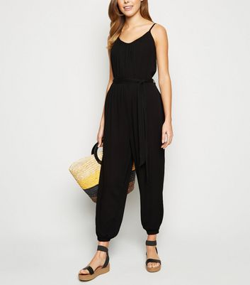 Black Tie Waist Strappy Jumpsuit