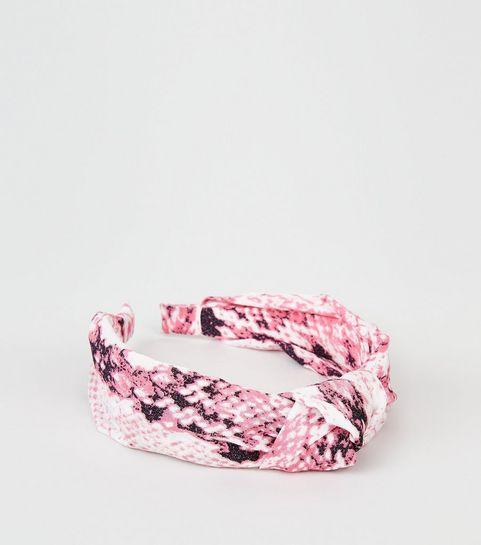dbf4545dc0b6 ... Bandeau pour cheveux rose moyen à imprimé peau de serpent et nœud ...