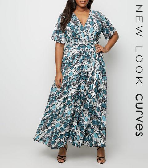 52757cfa0d28a ... Curves White Snake Print Pleated Maxi Dress ...
