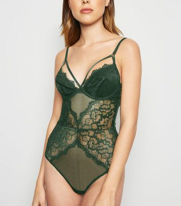Olive Lace Strappy Bodysuit