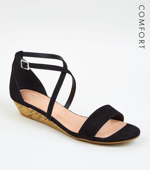 bc91772f393c ... Black Suedette Low Wedge Heels ...