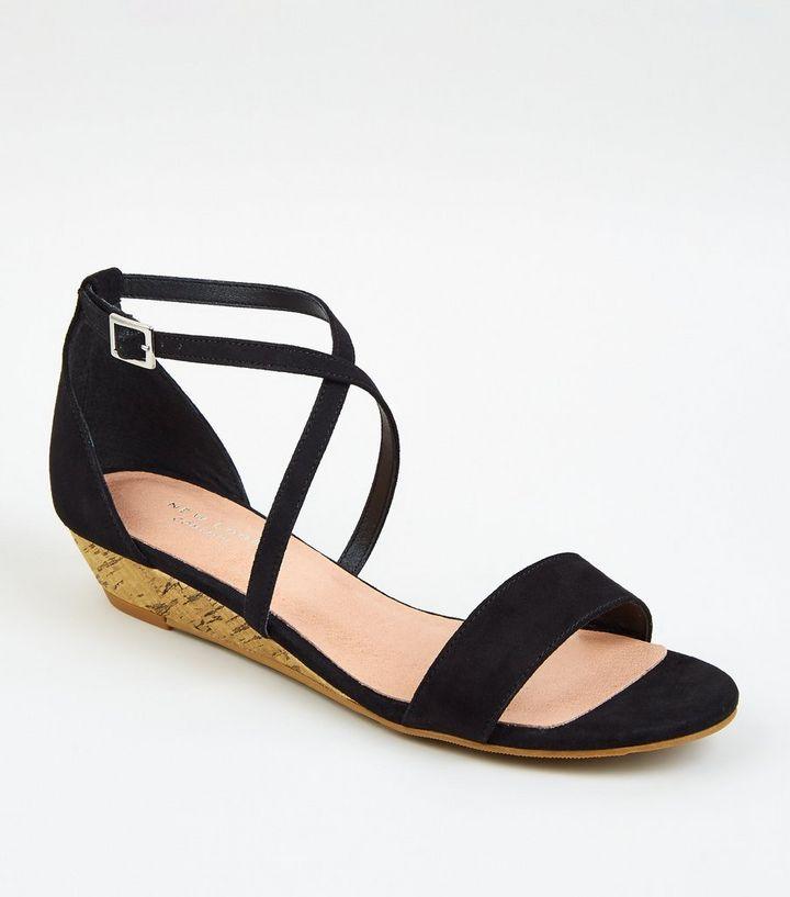 8d69ce786f Black Suedette Low Wedge Heels   New Look