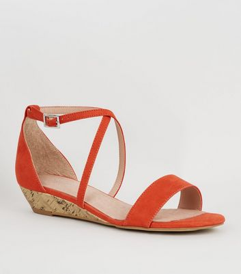 Bright Orange Suedette Low Wedge Heels