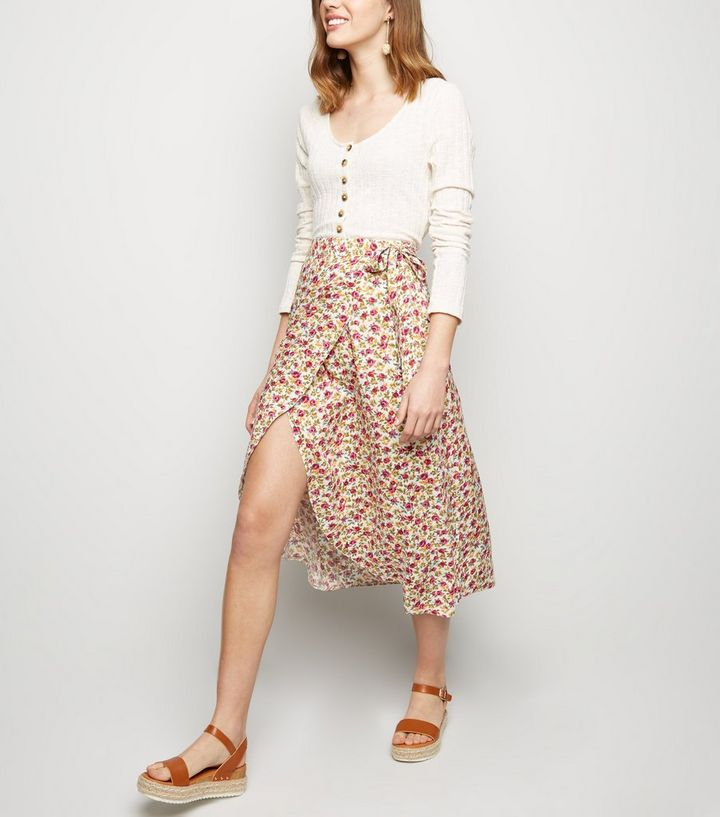 6a80a9522 White Floral Tie Side Wrap Midi Skirt | New Look