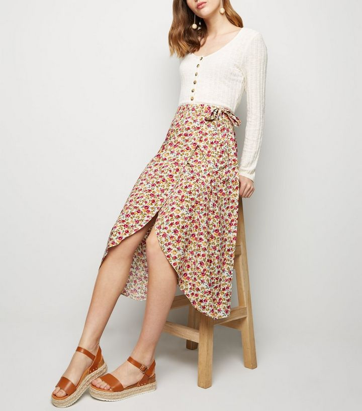 03c5f159c ... White Floral Tie Side Wrap Midi Skirt. ×. ×. ×. Shop the look