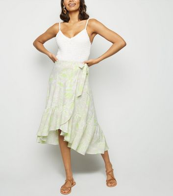 Green Tropical Ruffle Hem Midi Skirt
