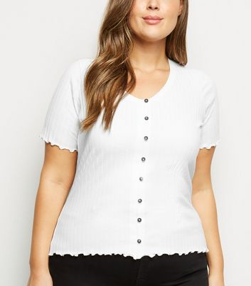 Curves Off White Button Front Frill Trim Top