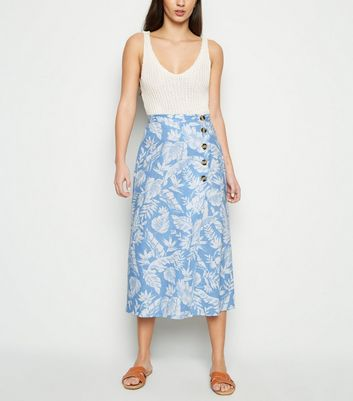 Blue Tropical Floral Linen Blend Midi Skirt