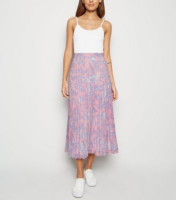 Pink Tropical Pleated Midi Skirt