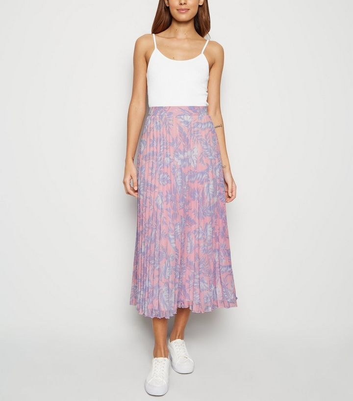 New Look Pink Tropical Pleated Skirt