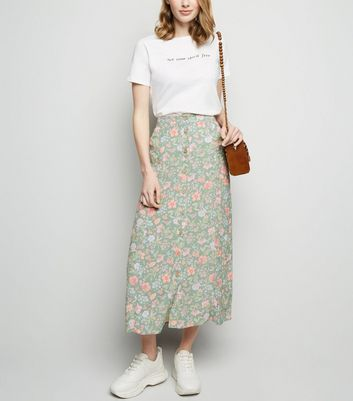 Green Floral Bias Cut Midi Skirt