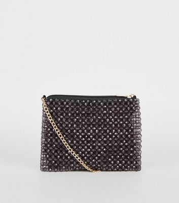 Black Beaded Pouch Shoulder Bag