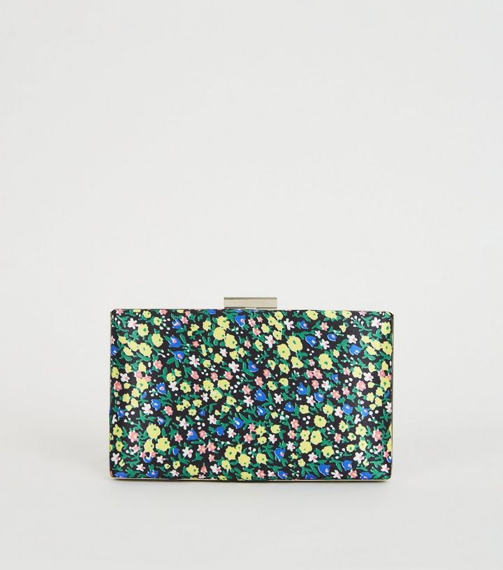 8c4ce05a35809 Green Floral Print Satin Clutch Bag | New Look