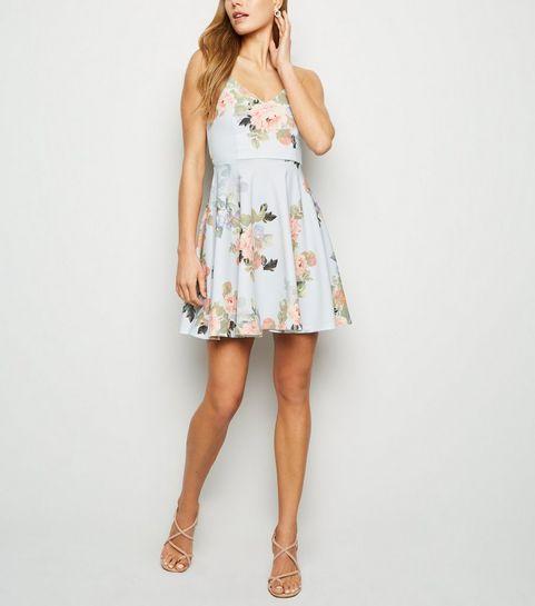 b0b22f37f ... Pale Blue Floral Skater Dress ...