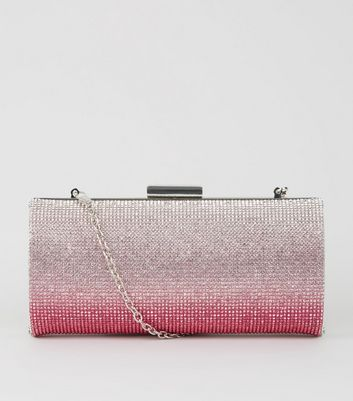 Pink Ombré Diamanté Clutch Bag