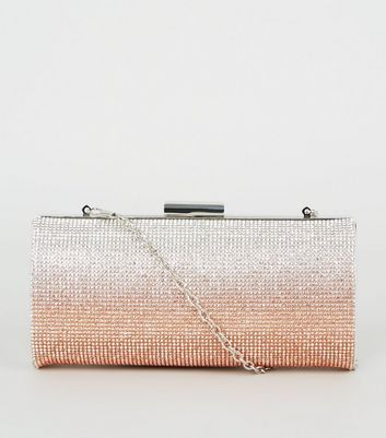 Rose Gold Ombré Diamanté Clutch Bag
