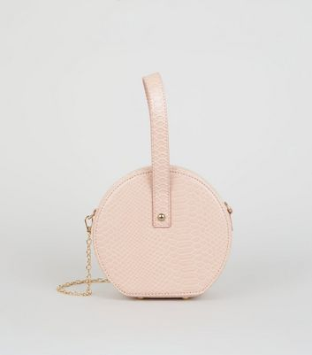 Pink Leather-Look Round Shoulder Bag