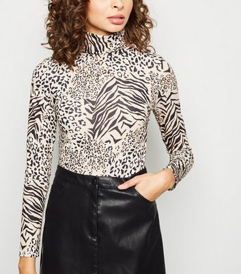 Brown Mixed Animal Print Roll Neck Top