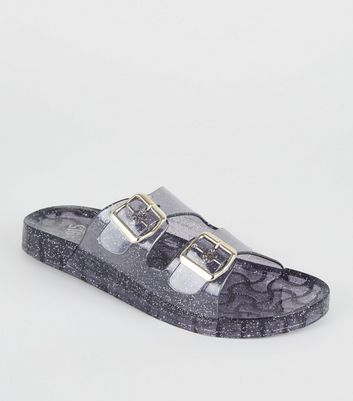Girls Black Glitter 2 Strap Jelly Sliders