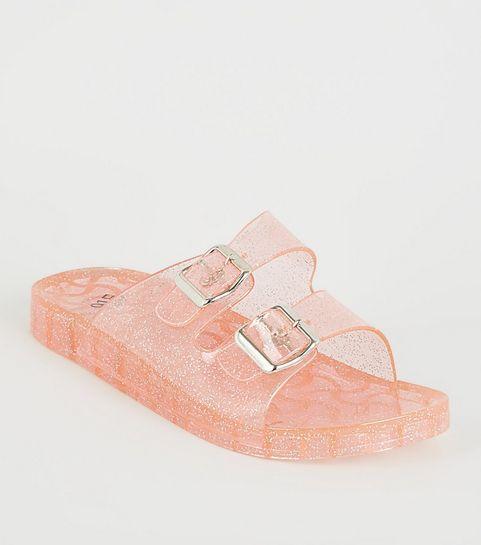 99ddb32f23053 ... Girls Pink Glitter 2 Strap Jelly Sliders ...