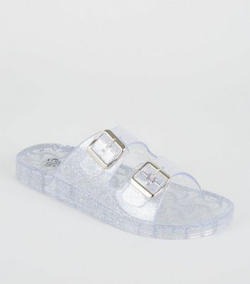 Girls Clear Glitter 2 Strap Jelly Sliders