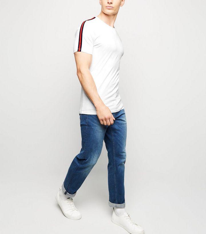 ba6c06d82 ... White Tape Stripe Muscle Fit T-Shirt. ×. ×. ×. Shop the look