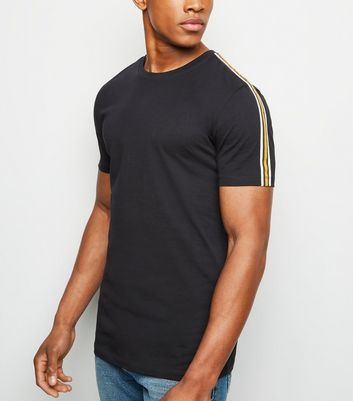 Navy Tape Stripe Muscle Fit T-Shirt