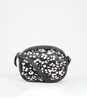 Black Leather Leopard Print Camera Bag