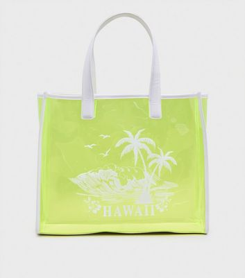 Green Neon Tinted Clear Hawaii Print Tote Bag