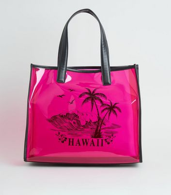 Bright Pink Neon Tinted Clear Hawaii Print Tote Bag
