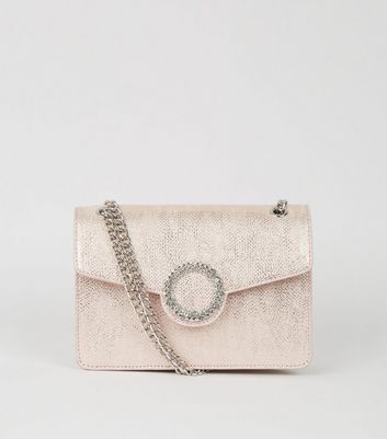 Pink Faux Snake Chain Shoulder Bag